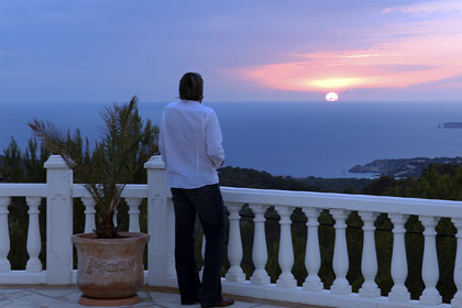 Sunset on terrace of Finca Casa Key West in Ibiza