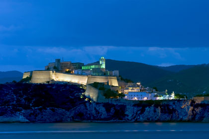 Fortress of Ibiza town at dusk